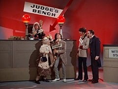 Peter Tork, Mildred Weatherspoon (Ruth Buzzi), Davy Jones, Mike Nesmith, Henry Weatherspoon (George Furth)