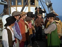Davy Jones, Micky Dolenz, Peter Tork, Captain (Chips Rafferty), Frank Reynolds (Ted de Corsia), David Price