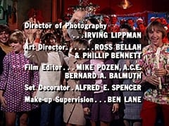Director of Photography … Irving Lippman / Art Director … Ross Bellah & Phillip Bennett / Film Editor … Mike Pozen, A.C.E., Bernard A. Balmuth / Set Decorator … Alfred E. Spencer / Make-up Supervision … Ben Lane
