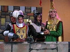 Richard (John Lawrence), Peter Tork, Horseman #1 (Ric Klein), Harold (Murray Roman), Princess Gwen (Mike Nesmith)