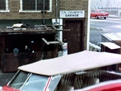 Outside T.N. Crumpets' Garage