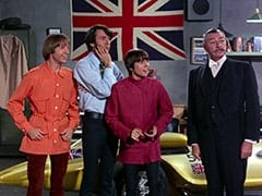 Peter Tork, Mike Nesmith, Davy Jones, Carruthers the Butler (Maurice Dallimore)