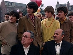 Davy Jones, Butler (Reginald Gardiner), Mike Nesmith, Ric Klein, Peter Tork, Mr. Friar (Laurie Main), Micky Dolenz