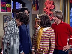 Micky Dolenz, Mike Nesmith, Miss Jones (Davy Jones), Peter Tork