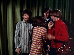 Micky Dolenz, Miss Jones (Davy Jones), Mike Nesmith, Peter Tork