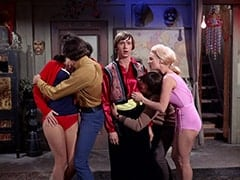 Girl in Red (?), Micky Dolenz, Peter Tork, Davy Jones, Girl in Pink (?)